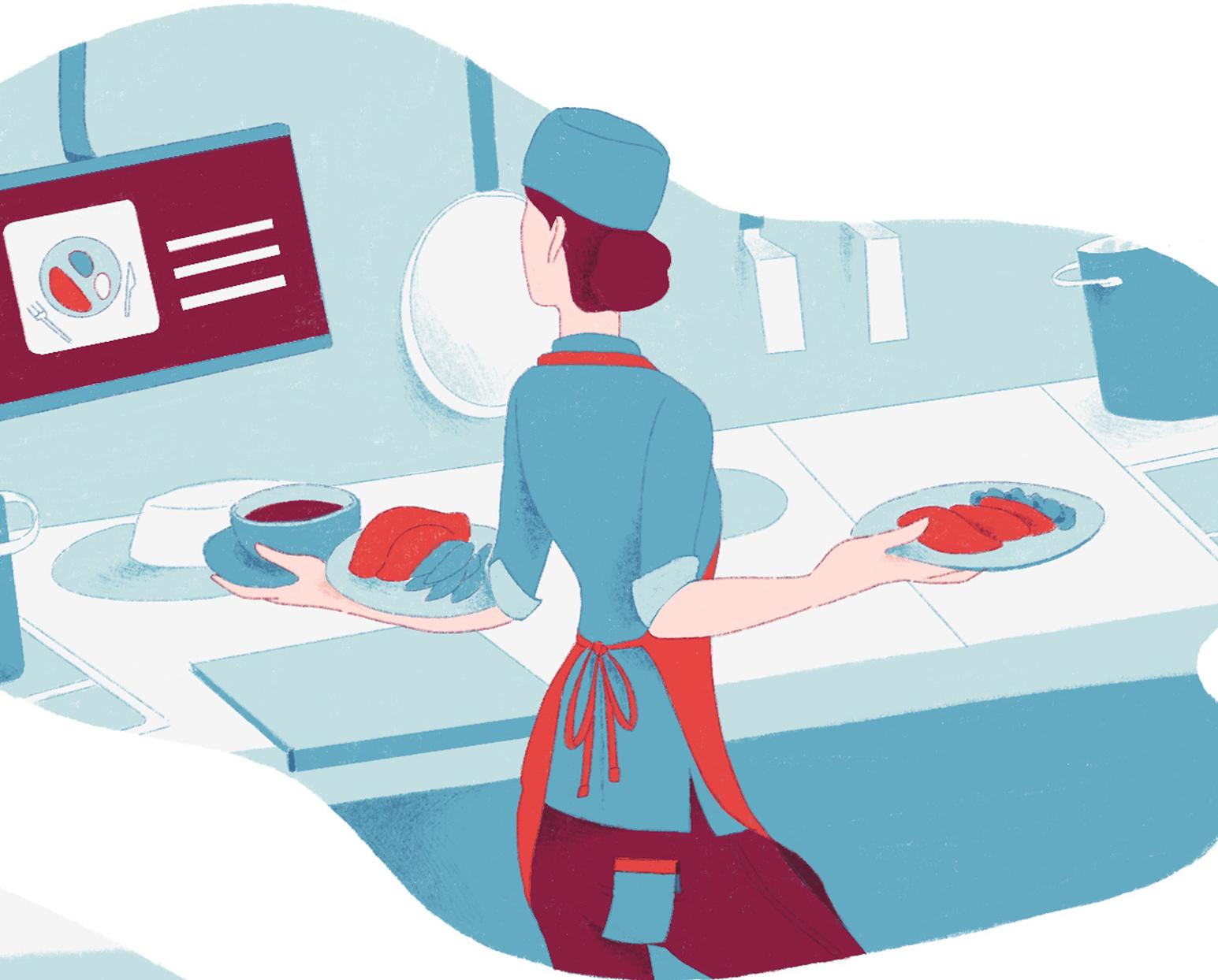 Anteprima dell'illustrazione per l'articolo sulla ristorazione ospedaliera.